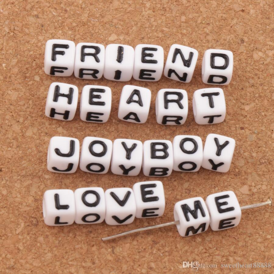 White Cube 26 Alphabet Letter Acrylic Spacer Beads 1000pcs/lot 7x7mm Loose Beads Hot Jewelry L3028