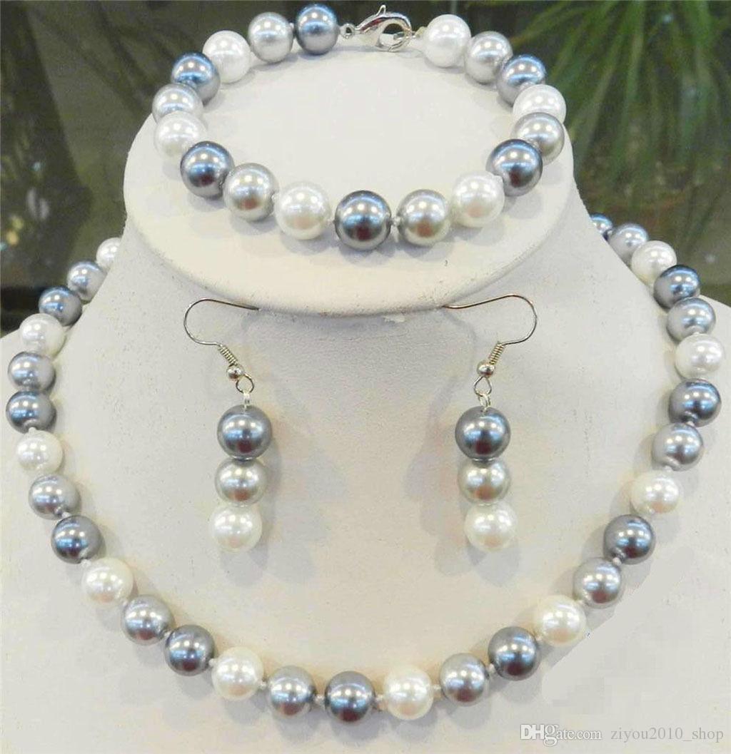 Handmade natural 10mm white/ black /gray multicolor south sea shell pearl necklace bracelets earrings set 2set/lot fashion jewelry