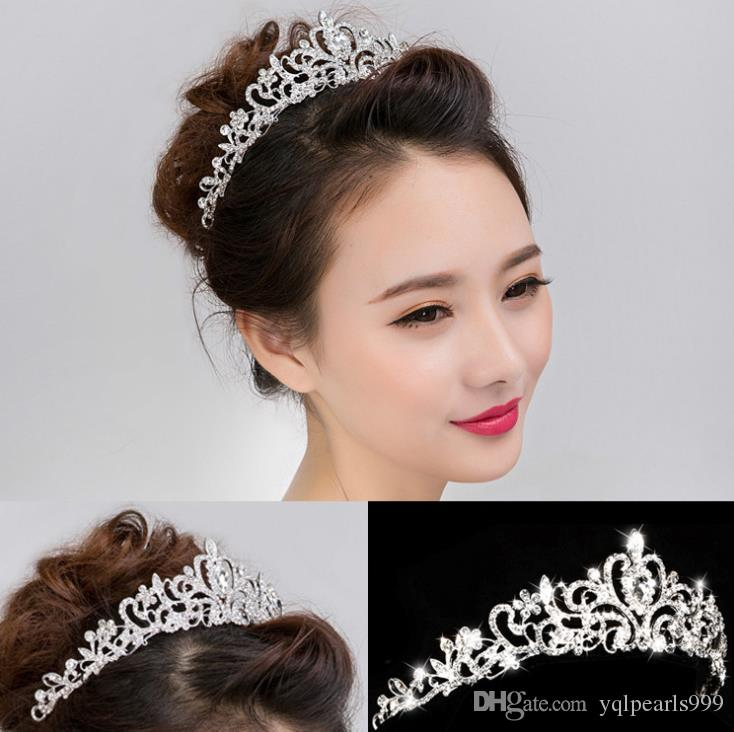 Gelin düğün elmas tiara taç alaşım saç şekillendirici düğün headdress