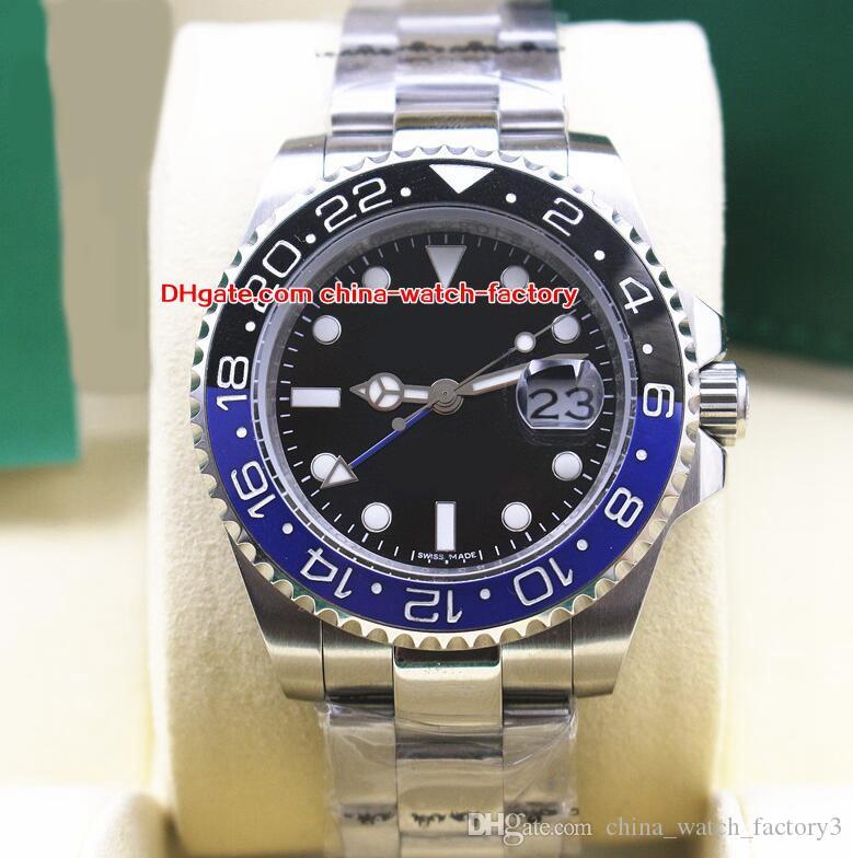 2 Estilo de Luxo de Alta Qualidade Assista 40mm GMT 116710 116710LN 116710Blnr Cerâmica Em Aço Inoxidável Ásia 2813 Movimento Automático Mens Relógios
