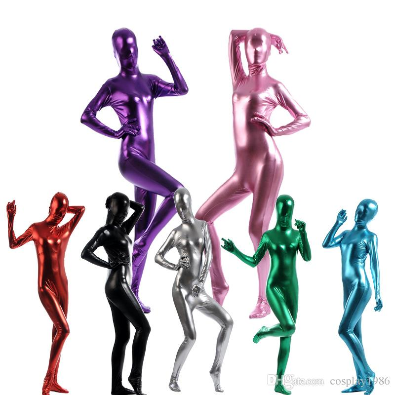 Adult Women Female Metallic Lycra Spandex Cosplay Halloween Party Full Body Zentai Jumpsuit Bodysuit Suit Unitard Plugsuit