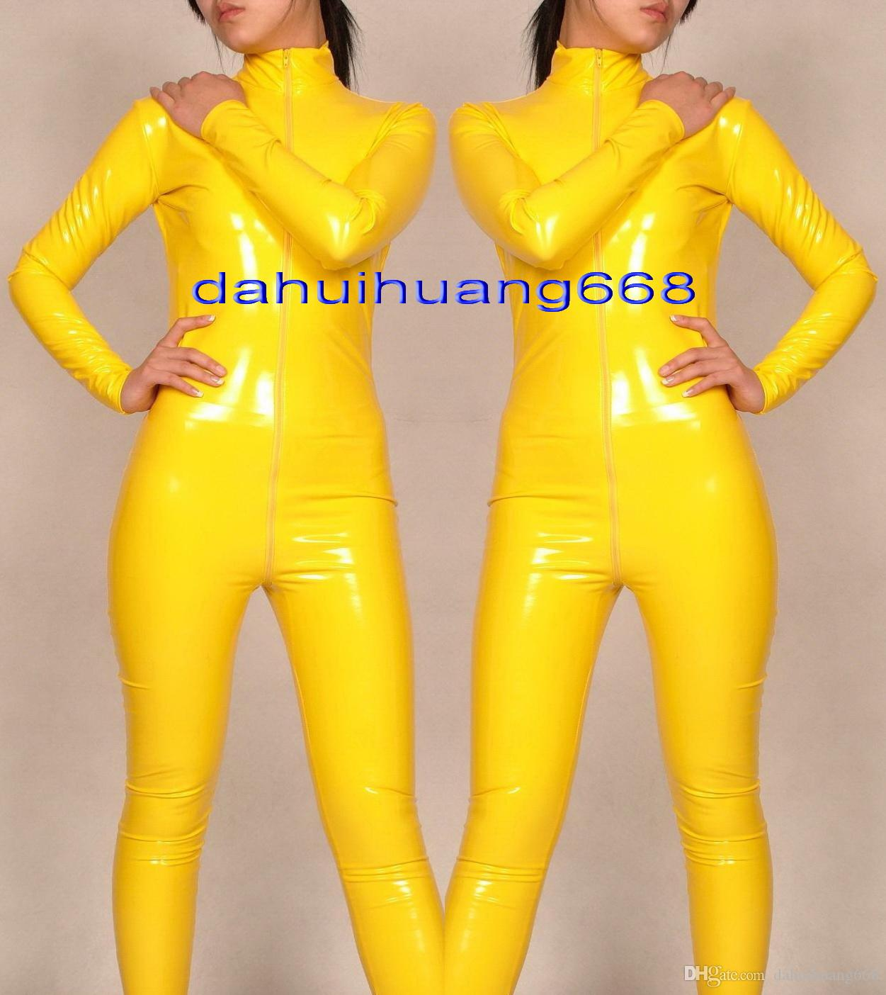 Yellow Shiny PVC Suit Catsuit Costumes Unisex Shiny Yellow PVC Body Suit Unisex Sexy PVC Bodysuit leotard Costumes With Long Zipper DH178