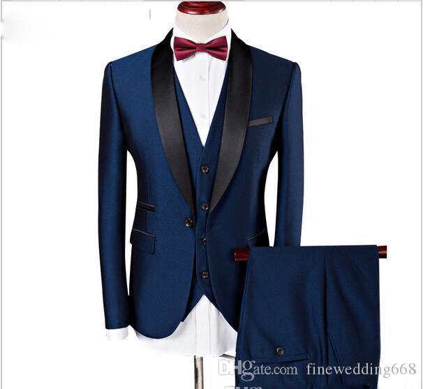 Populaire Bleu Marine Châle Revers Un Bouton Mariage Marié Smokings Hommes Costumes De Mariage / Bal / Dîner Meilleur Homme Blazer (Veste + Cravate + Gilet + Pantalon)