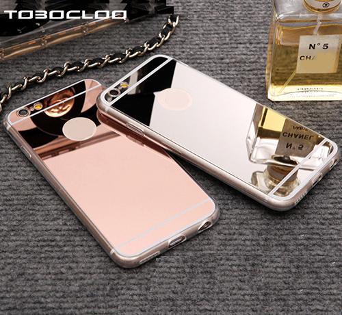 Cas de luxe de miroir TPU Capa Étui en silicone souple pour iPhone 5 5s SE 6 6 s 7 8 Plus X Coque Pour iPhone 7 Plus i7 i7P
