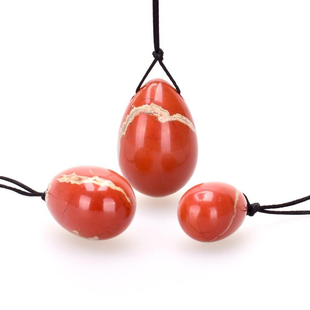 Natural Red Jasper Eggs Jade Egg Crystal Massage for Women Exercise Pelvic Floor Muscle Vaginal Exercise Wa Ball