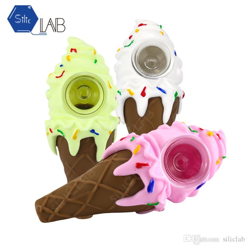 "Ice Cream Cone Pipe With 2 Layer Glass Bowl and PET Box Package Glass Pipes for Smoking Hand-Made Colors 4.3"" from SILICLAB"