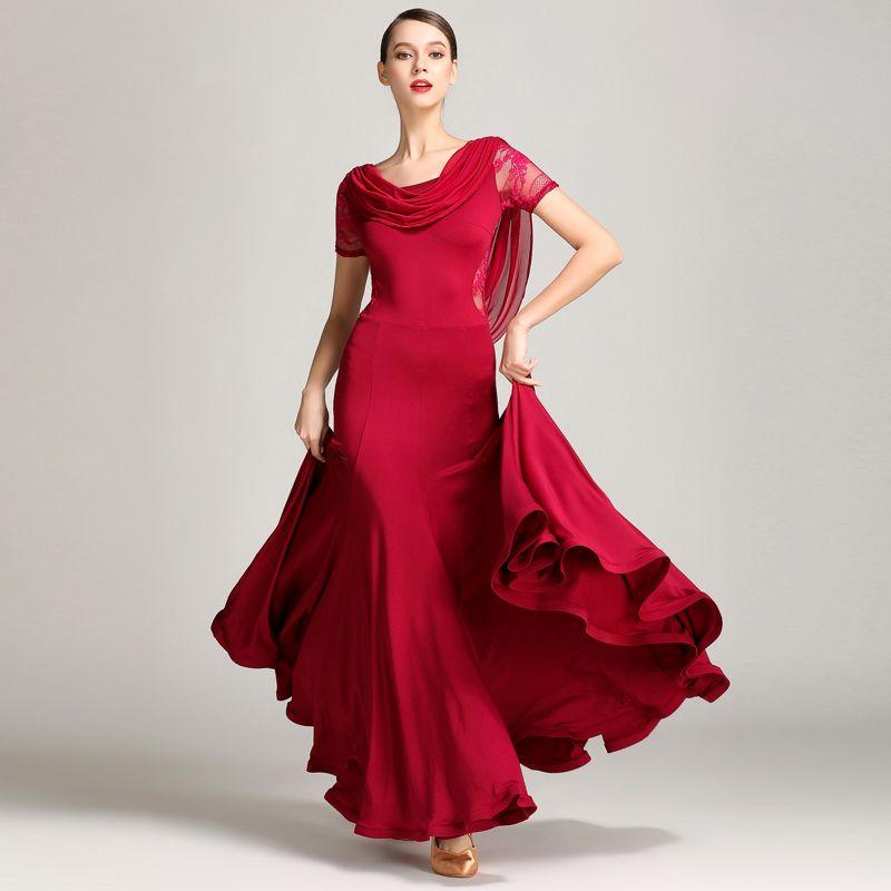 Bühne tragen Ballsaal Tanzwettbewerb Kleider Dame Spitze Kurzarm Flamenco Walzer Kleidung Frauen Standard Kleid DNV10183