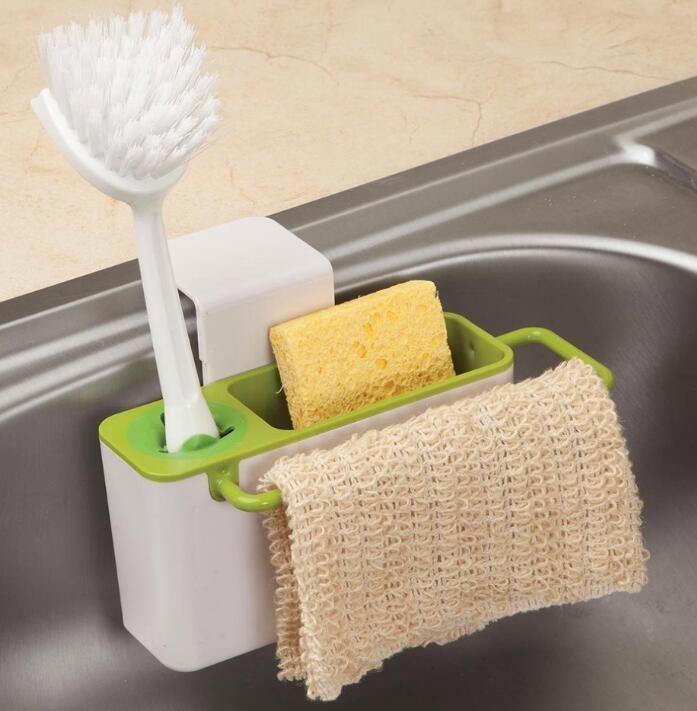 Cozinha Organizador Rack Soap Esponja Escova Titular Sink Caddy C