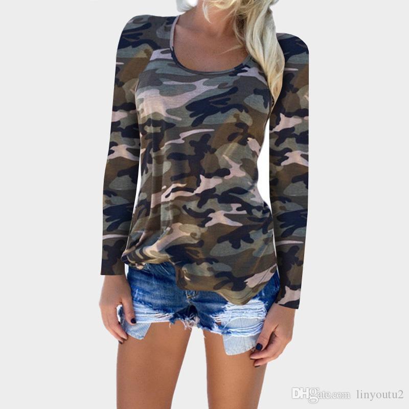 2018 camuflaje de impresión de manga larga camiseta delgada moda lady sexy tops ejército estilo casual camiseta de mujer