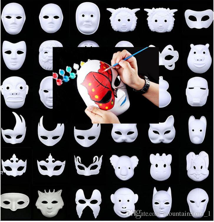 Blank White Masquerade Mask Women Men Dance Cosplay Costume Party DIY Mask Halloween Christmas Free Shipping