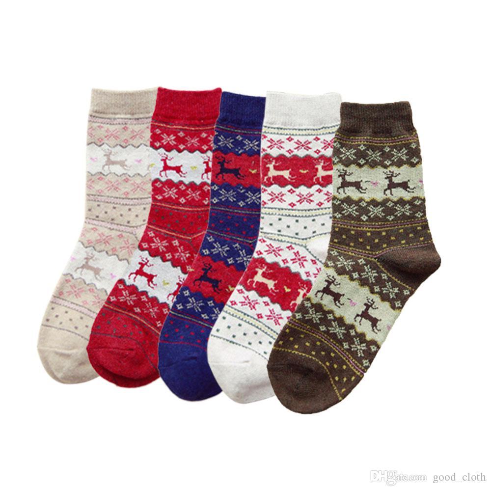 Women Christmas Gift Sock 5 Styles Winter Rabbit Wool Snowflake Deer Pattern Sockings Autumn Warm Socks 400PCS CNY689