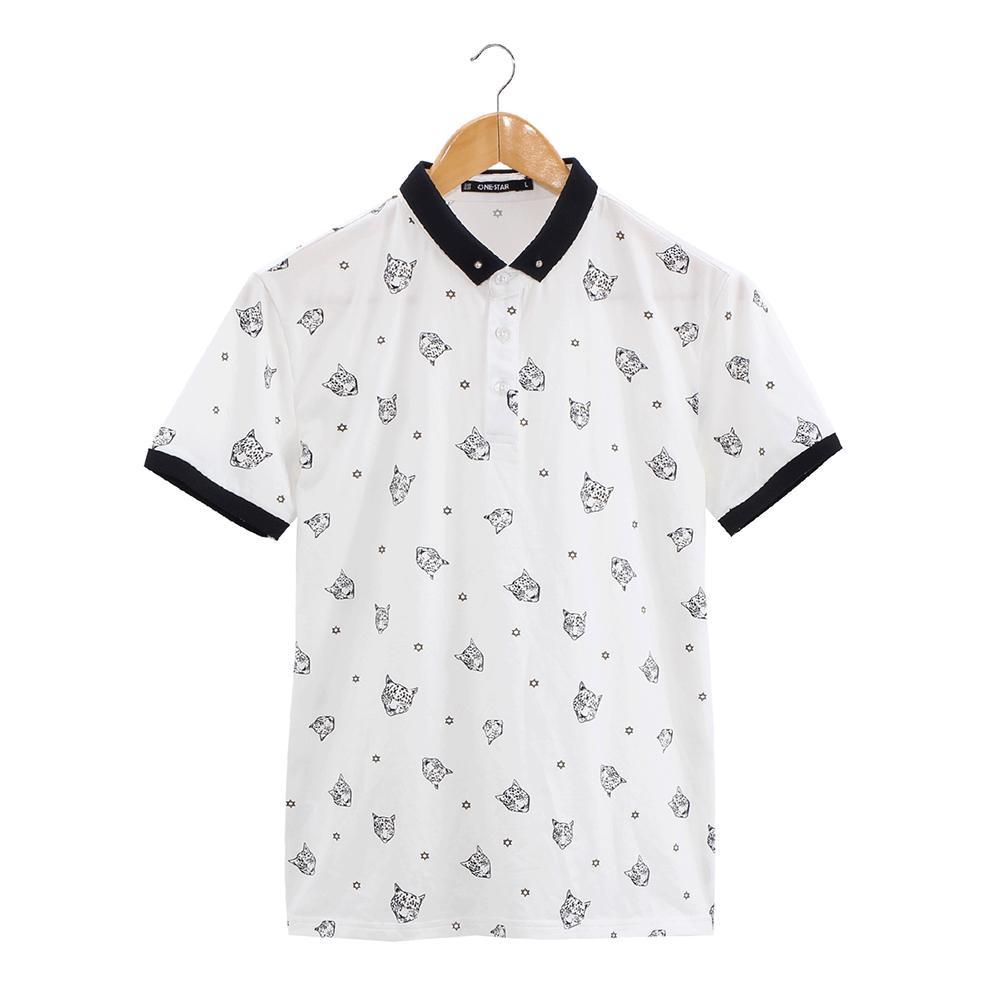 Designer Summer Wear Novità Polo da uomo stampata in piuma bianca da uomo con maniche corte o top traspirante in cotone prestato