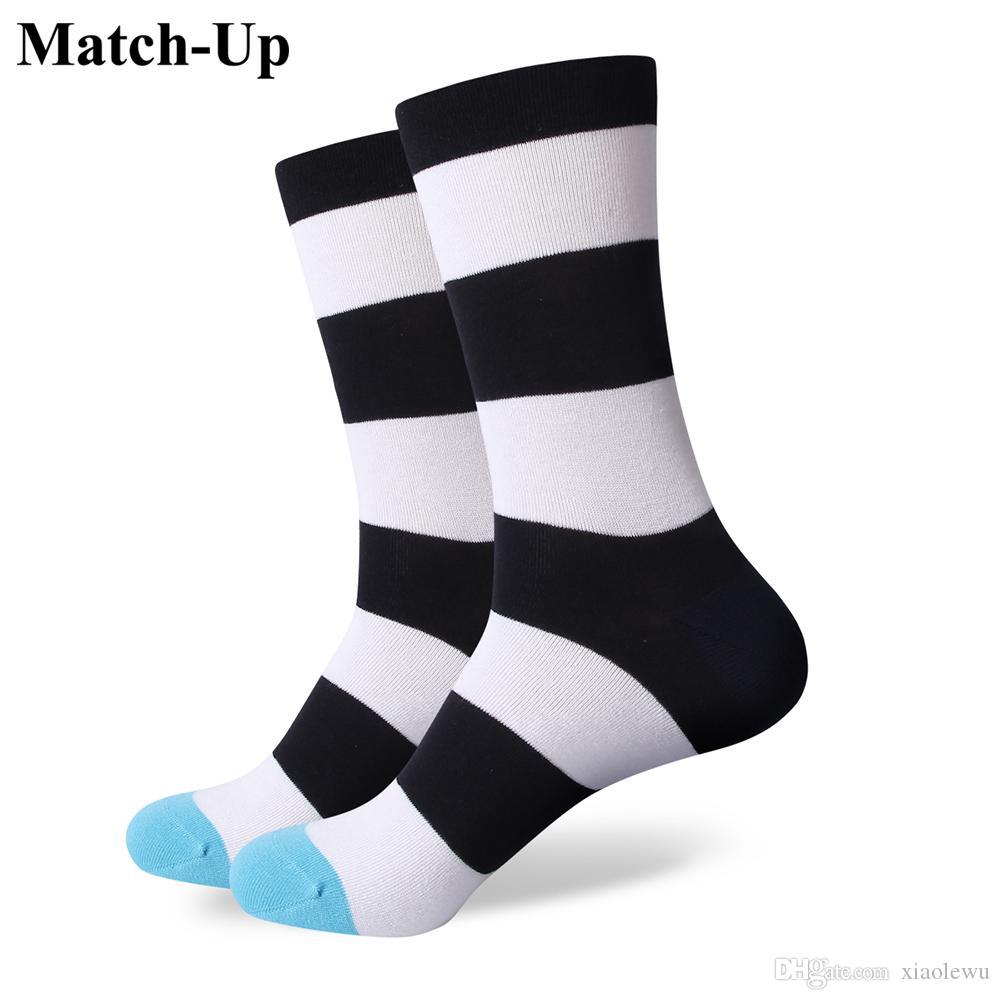 2016 heren gekamd katoen merk mannen sokken, kleurrijke streep casual sokken, US size (7.5-12) 317