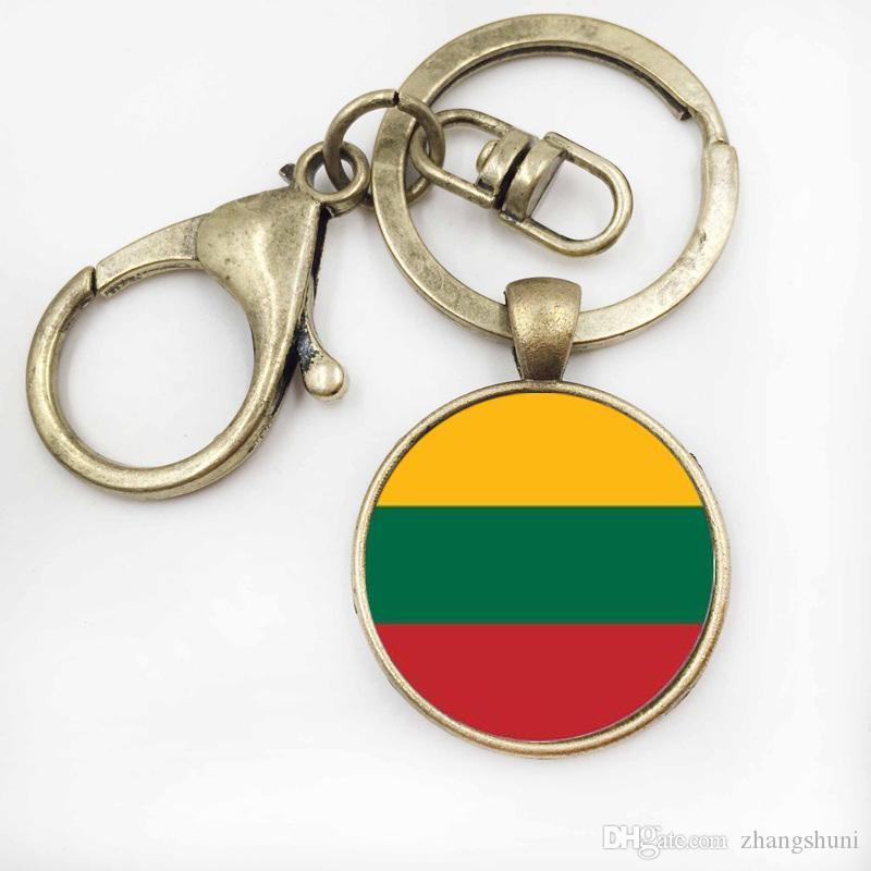 Trendy chaveiro artesanal LithuaniaLiechtenstein bandeira chaveiro cabochão de vidro jóias chave de alta qualidade anel
