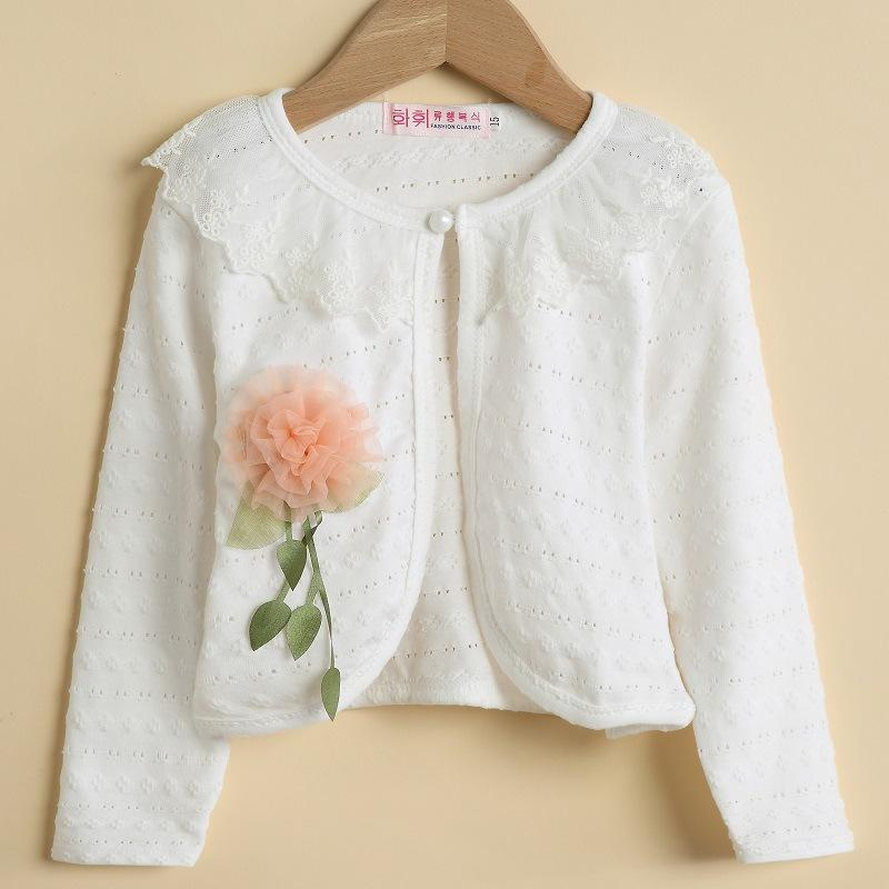 2-10T Flowers Cotton Lace Casual Cardigan White Thin Long Sleeve Girls Clothes Cardigan For Girls Summer Childrens Coat KC1507-9