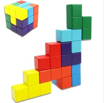 Novità Giocattoli Cubo magico Tetris Multicolore 3D Soma in legno Puzzle Rompicapo Educativo IQ Gioco mentale per bambini Adulto