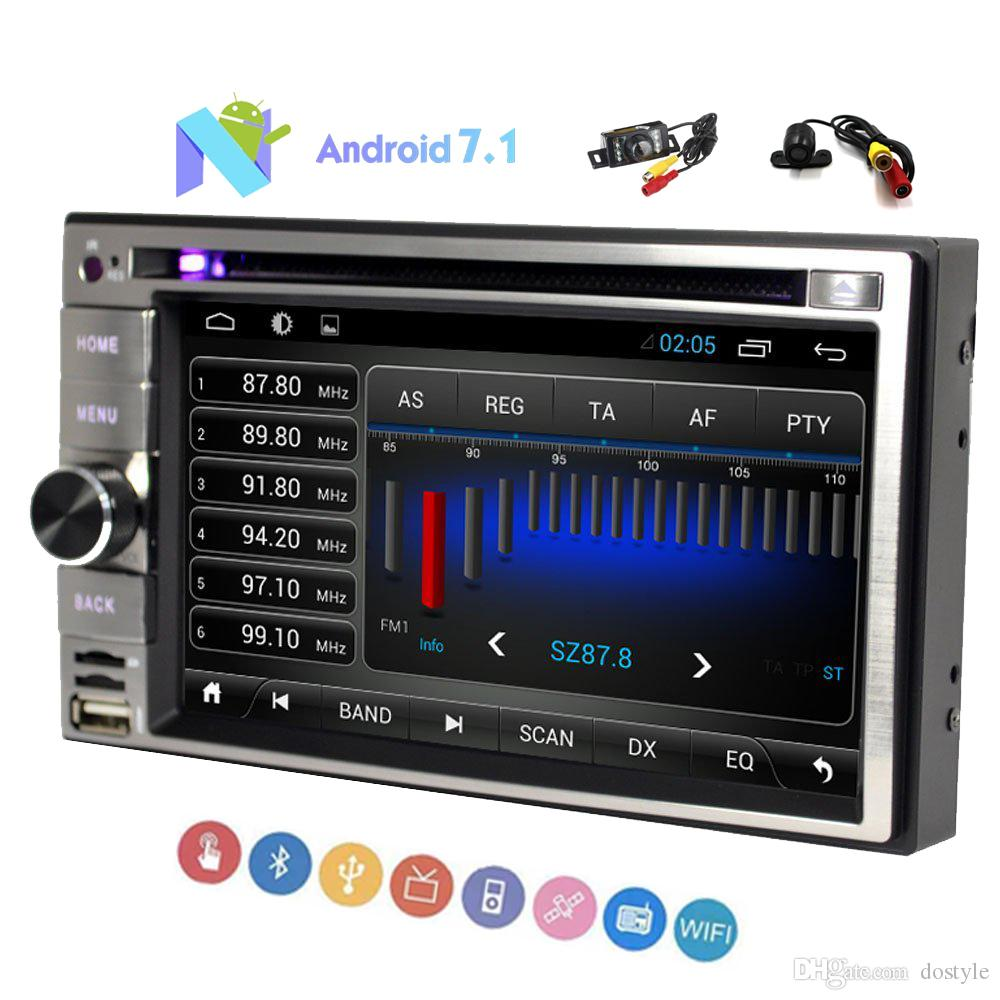 Doble cámara 6.2 '' Pantalla táctil capacitiva Navegación Doble 2 Din Android 7.1 Car DVD Radio Alta definición 1024 * 600 Bluetooth Wifi USB / SD