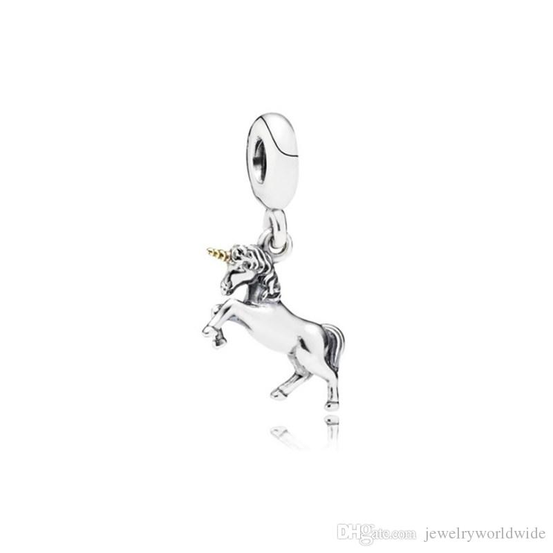 Unicorno ciondolo unico perline di fascino unico grande buco moda donna gioielli stile europeo per la collana del braccialetto fai da te