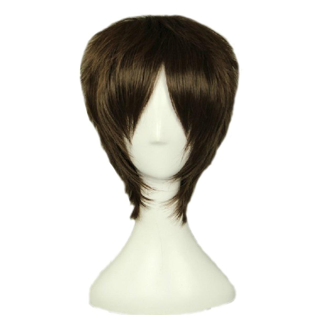 Mens Layered Natural Looking Cosplay Daily Hair Full Wigs Short Brown