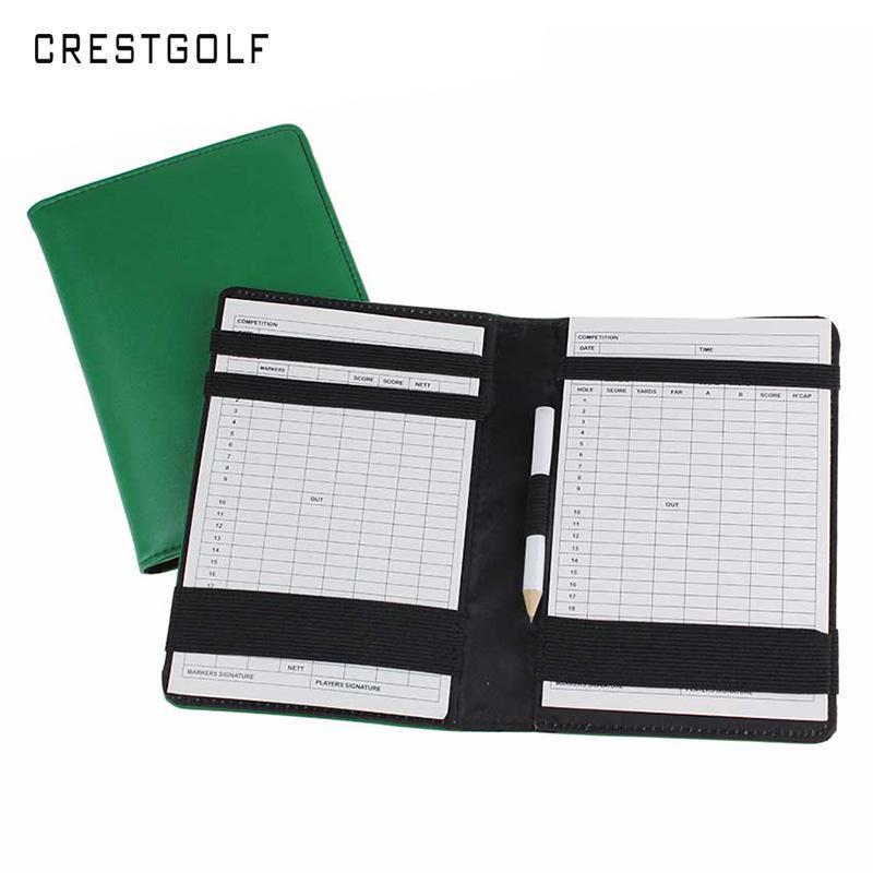 vente en gros luxe titulaire de la carte de score de golf en cuir véritable avec un crayon de bois et 2 cartes