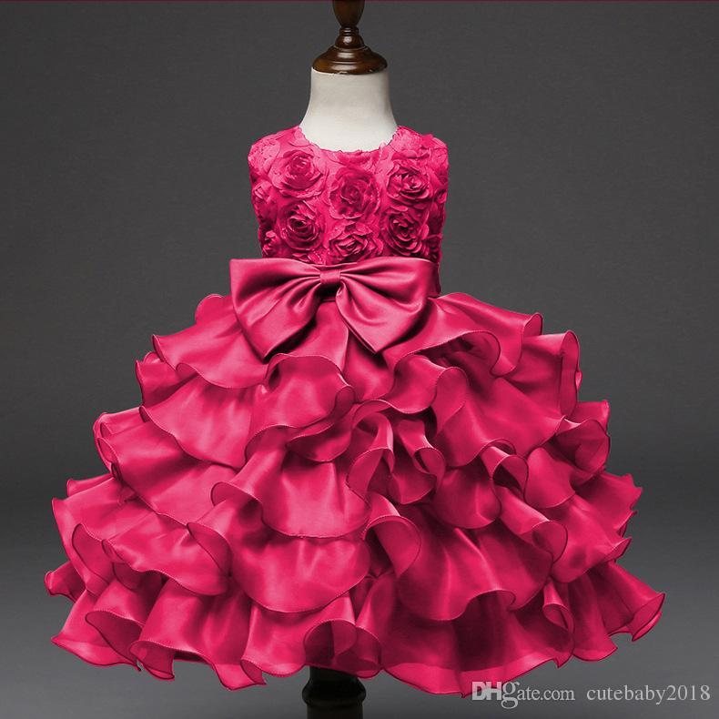 Girl Dress Sleeveless Rose Kid Dresses Girls Clothes Halloween Party Princess Vestidos birthday Bow Tie Dress Christmas baptism