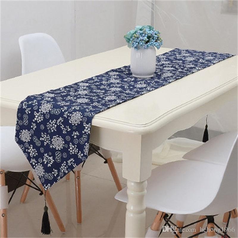 Retro stile etnico tavolo da stampa runner blu decorativo modello decorativo bandiera tessuto arte super morbida tavole uniche di qualità 23qcb4 z