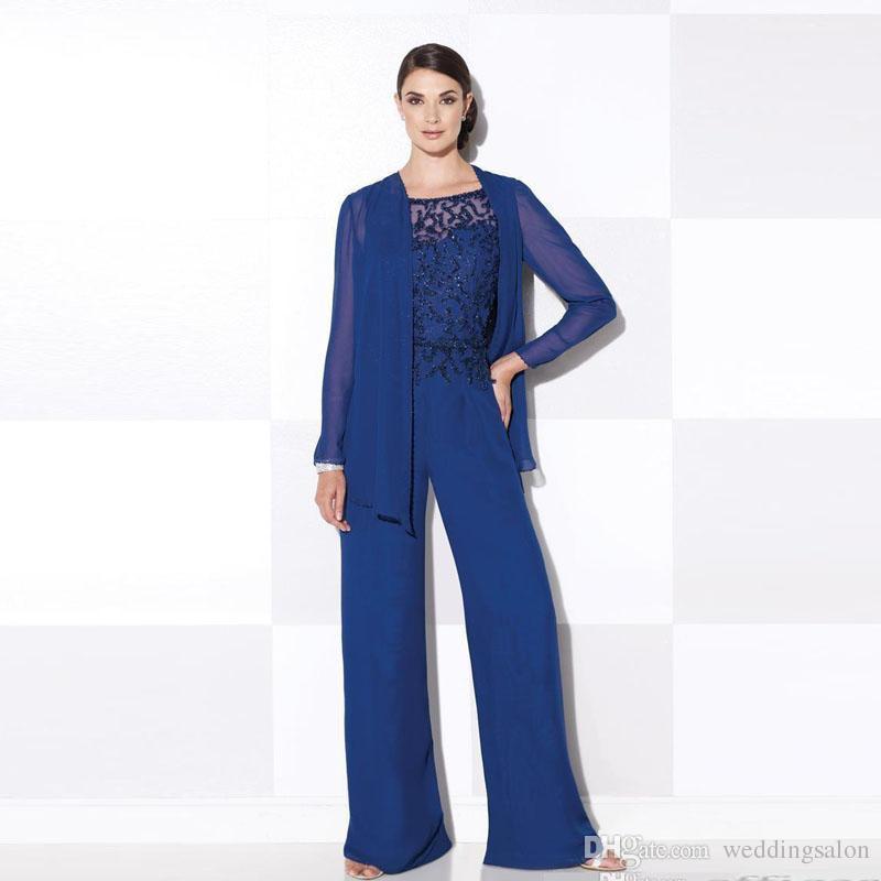 Azul real duas peças mãe da noiva pijama beading e lantejoula chiffon roupa da mãe roupas formais