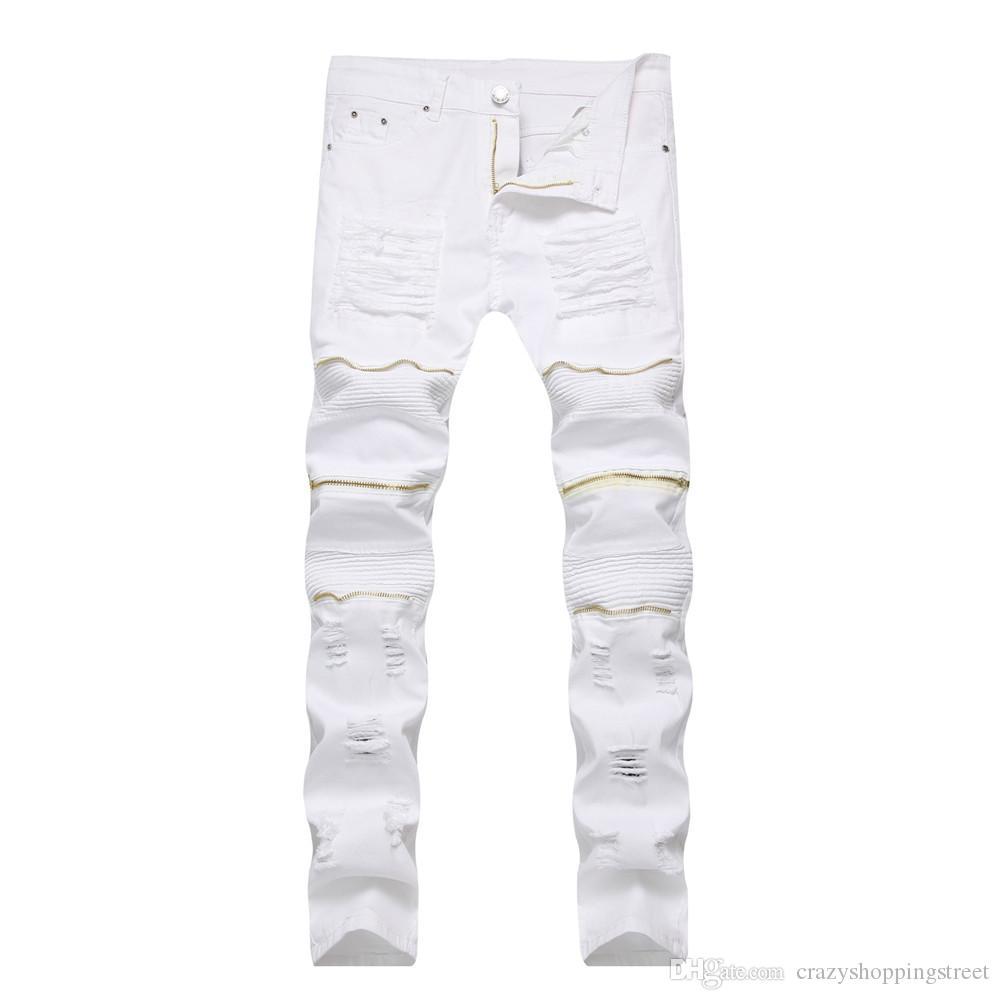 Nouveau Blanc Noir Jeans Zipper Rouge Hommes Slim stretch Ripped Distressed Hommes Biker Jeans Skinny Pantalons Hip Hop