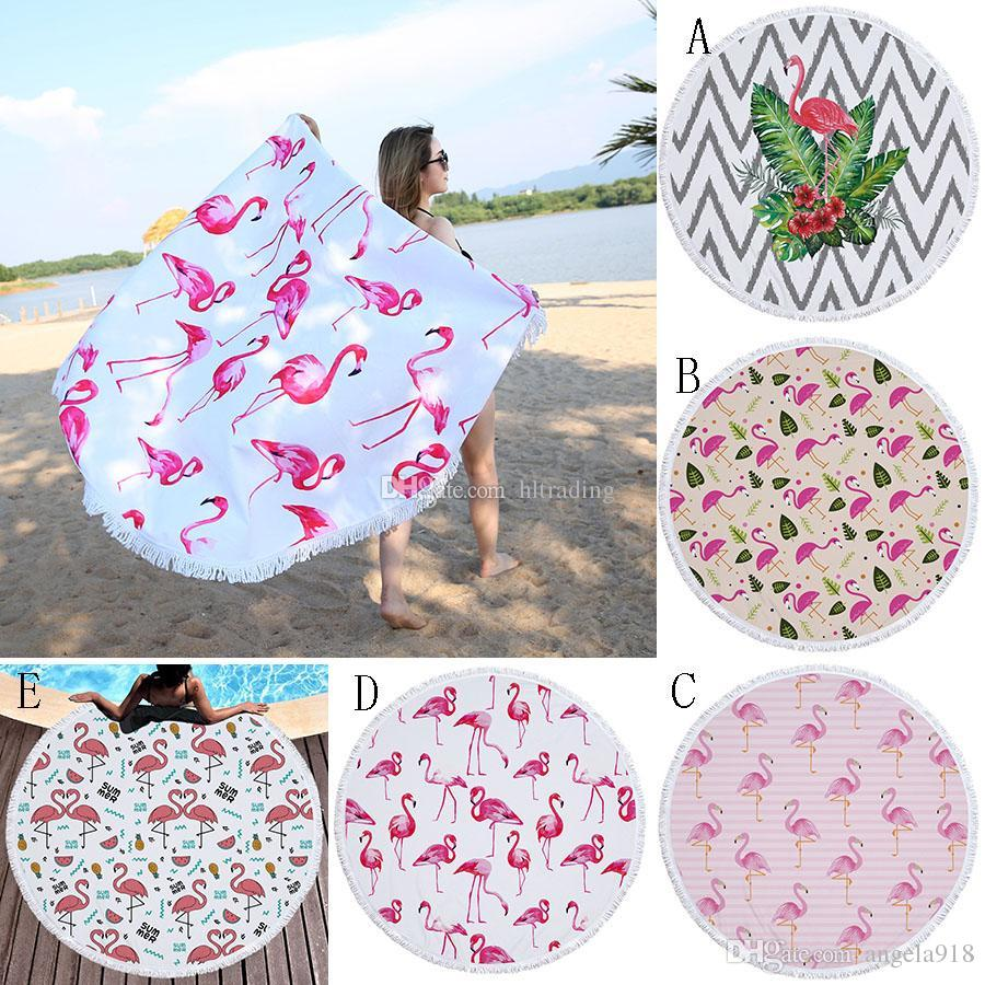 Flamingo Beach Towel 150*150cm Round Tassels Picnic Blanket Summer Swimming Bath Towels cartoon Shawl Yoga Mat C4256