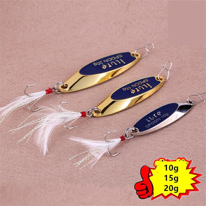 Nowe Gold Silver Spoons Wędkarstwo Przynęty 10g 15g 20g Atualiial Metal Vib Blades Lure Spinner Bait