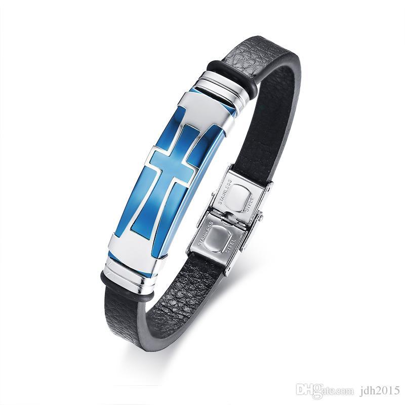 Men's Stainless Steel Crucifix Cross Leather Bracelets Cuff Bangle Wrist Band Bracelet