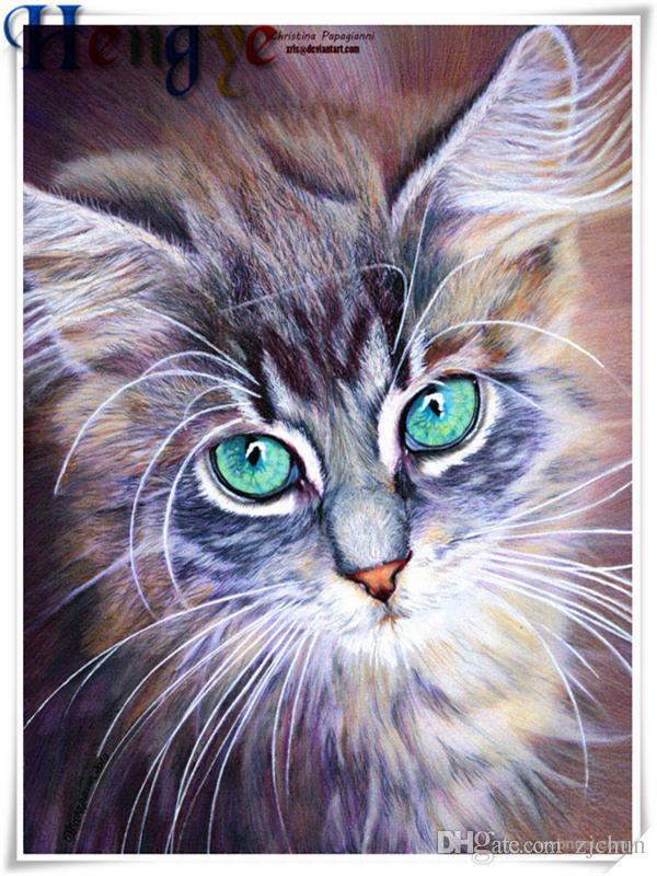Mosaico de decoração para casa presente animais gato bonito 5D diy pintura diamante kit ponto cruz strass completo roundsquare diamante bordado yx2657