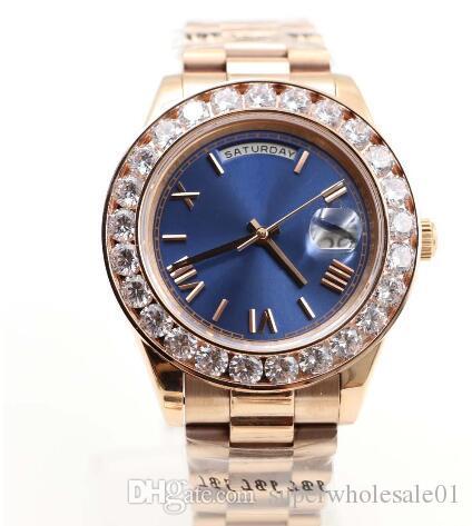 Top de luxo homens relógio Day-Date movimento automático safira Diamantes relógio Face azul rosa de ouro inoxidável mens relógios frete grátis