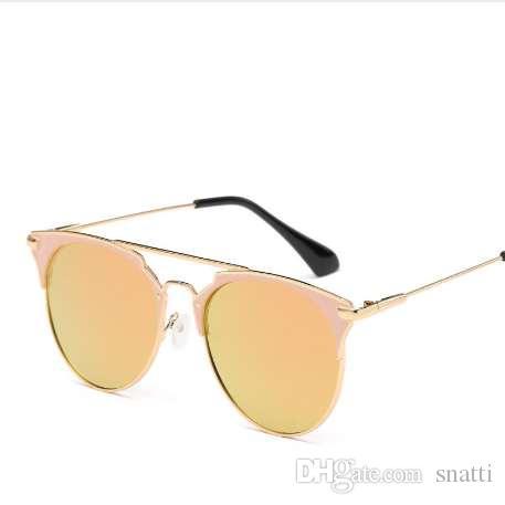 Gafas de sol redondas de la vendimia de lujo mujeres diseñador de la marca Gafas de sol del ojo de gato Gafas de sol para las mujeres espejo de gafas de sol de las señoras