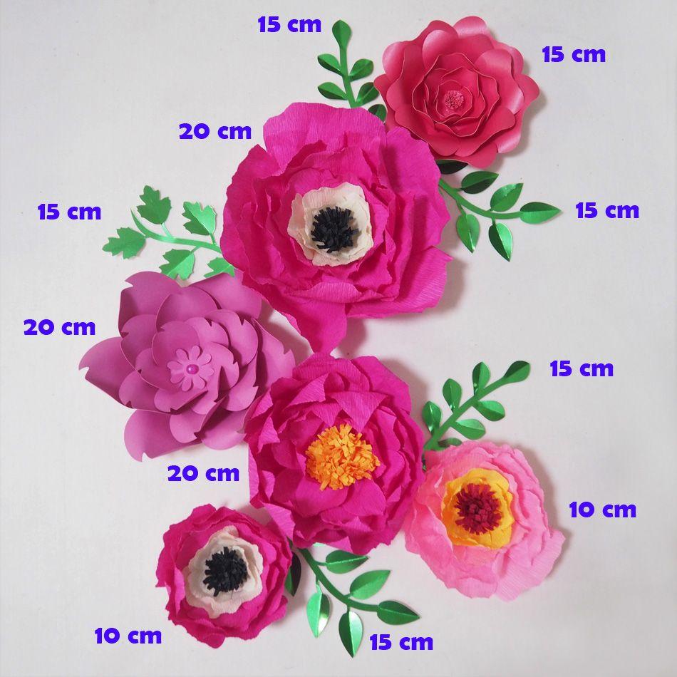 Dev Krep Kağıt Çiçekler Yapay Flores Artificiale Düğün Olay Backdrop Için 6 ADET + 5 Yapraklar Bebek Kreş Sıcak Mix (HFCP071812)