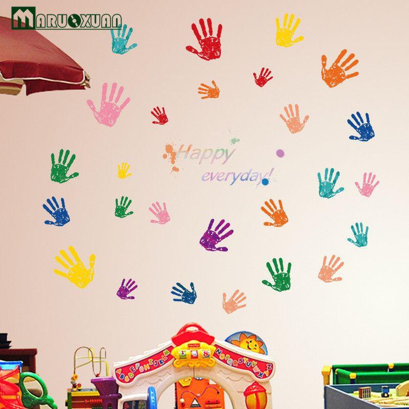 Creative Cute Colorful Fingerprint Kindergarten Children 's Room Primary School Classroom Cartoon Decorative Wall Stickers