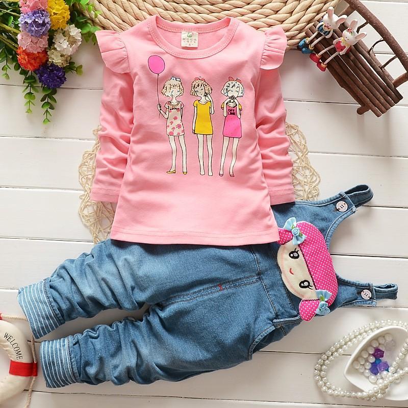 BibiCola Primavera Bebê Meninas Roupas Set Criança Crianças Macacões calças Denim + Blusa Completa Manga Tops Terno Conjunto Crianças Roupas Set