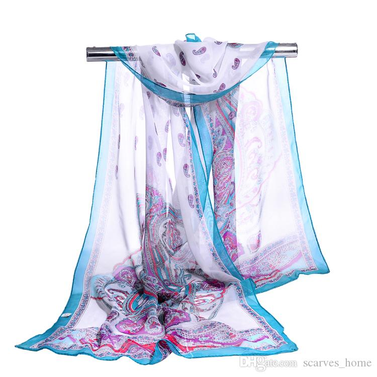 new chiffon georgette silk scarf women Bohemia long shawls Spring and Autumn cashew scarves and wraps sunscreen cape 10 Colors