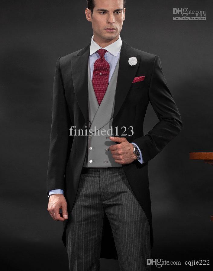 New Morning style One button Peak Lapel Groom Tuxedos Groomsmen Men Blazer Wedding Suits Bridegroom (Jacket+Pants+Vest+Tie) 261