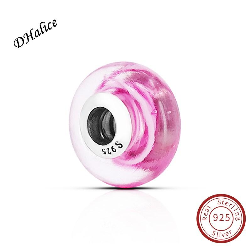 Pink Ribbon of Hope Murano Glass Charm Pandora Authentic 925 Sterling Silver beads Fits Snake Bracelets DIY Fine Jewelry