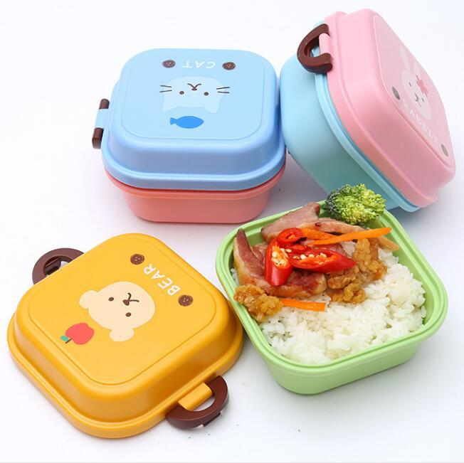 portable cartoons lunch box doule layers food fruit containers bento box picnic food storage container tableware box