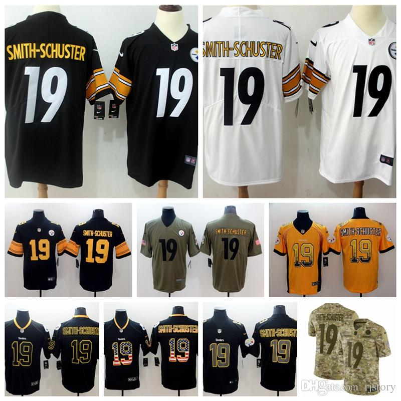 sports shoes bfc19 c06f1 2018 2018 2019 New Men Pittsburgh Steelers 19 JuJu Smith Schuster Jersey  100% Stitched Embroidery JuJu Smith Schuster Color Rush Football Jerseys  From ...