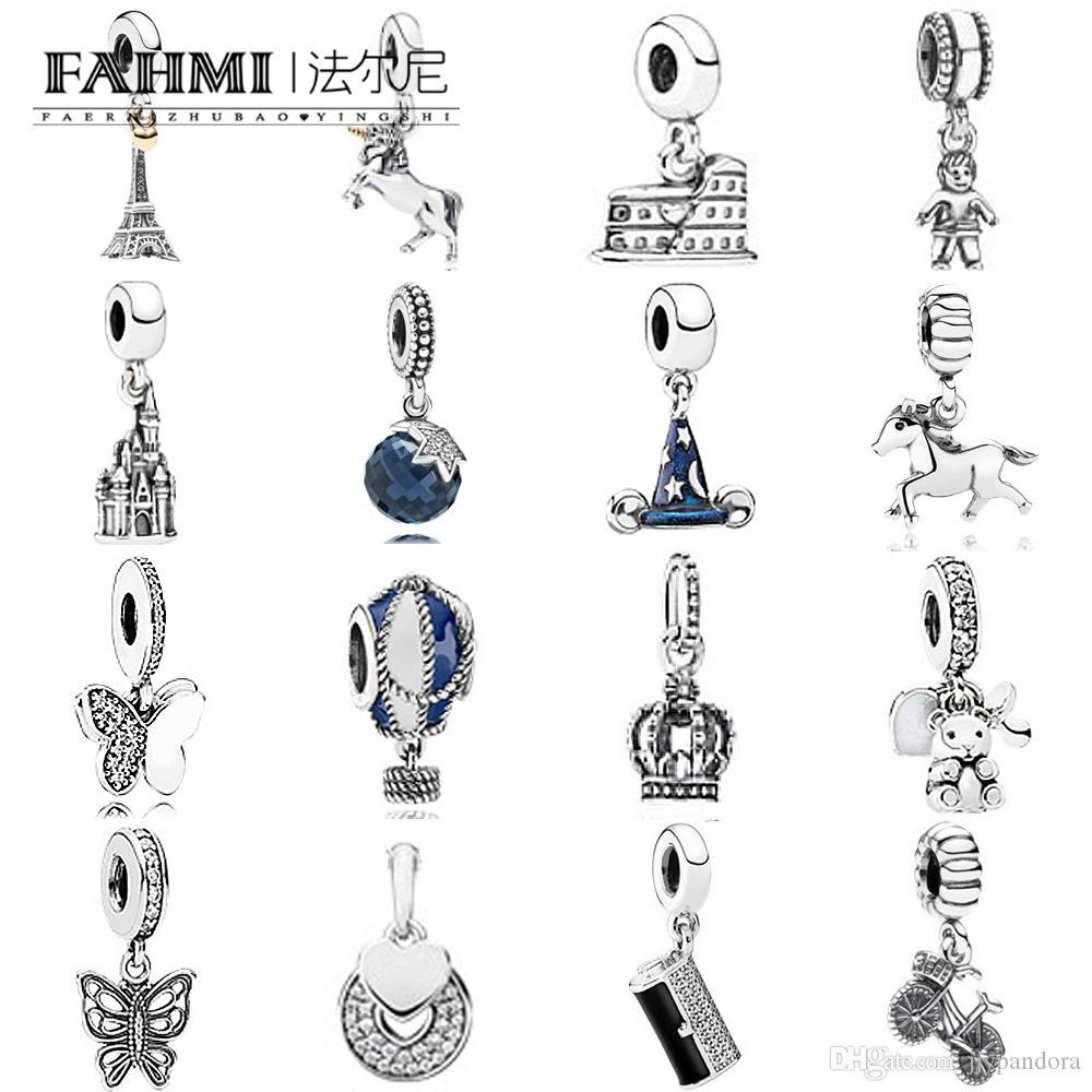 FAHMI 100% 925 Sterling Silver 1:1 Charm Master Mischief Little Boy Horse Free Spirit Dangle Hot Air Balloon Openwork Eiffel 14k BABY Clutch