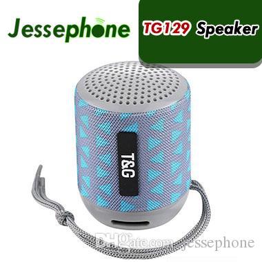 미니 블루투스 스피커 TG129 무선 휴대용 Subwoofer MP3 플레이어 FM 라디오 오디오 TF 카드 USB 천으로 크리 에이 티브 야외 휴대용 스피커 60 X