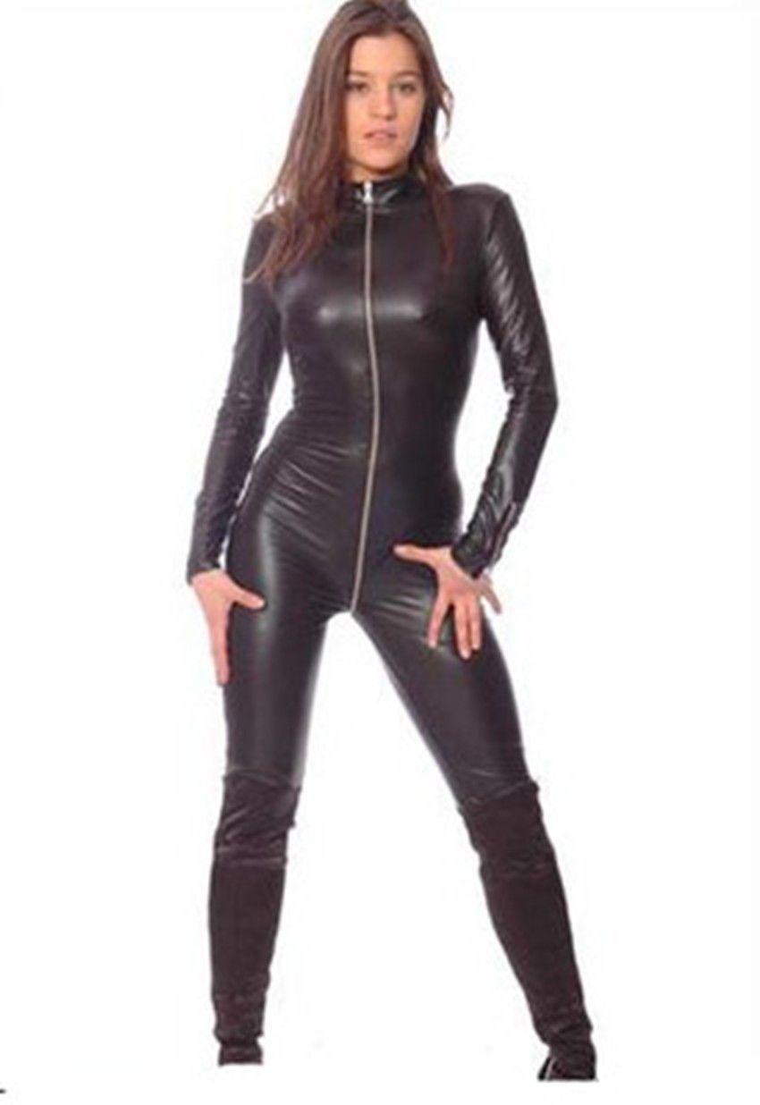 NEW.Metallic Black Lycra Spandex Catsuit Halloween Party Zentai Costumes S-XXL