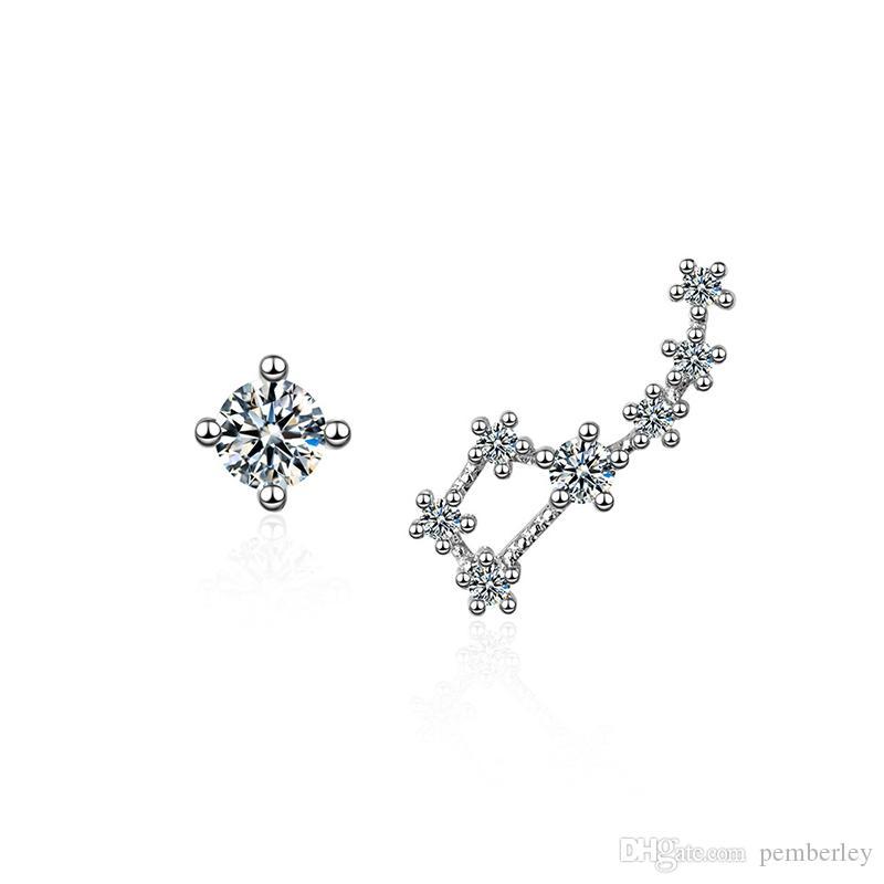 ED622 koreanischen und japanischen Stil Schnee Blume Anhänger Silber Farbe Ohrringe Weihnachten Kupfer und Zirkon Mode Frauen Ohrring Zubehör