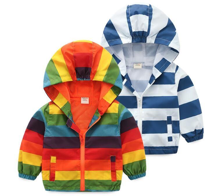 2019 ilkbahar sonbahar çocuk şerit kapüşonlu çocuklar ceket erkek giyim mont aktif erkek rüzgarlık bebek giyim giyim