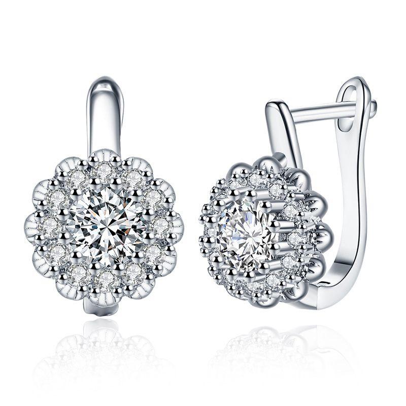 Champagne goldplatinum forma de flor diamante romântico brincos de vento de luxo deslumbrante ear cuff com zircão branco moda feminina jóias KZCE151