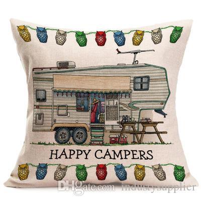 7 stil Bel yastık Kılıfı Keten yastık ev tekstili yastık kılıfı Mutlu Campers hediye minder örtüsü kanepe araba malzemeleri