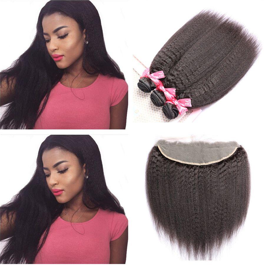 Crépus Droite Armure de Cheveux Humains Avec Dentelle Frontale Grand Yaki Extension de Cheveux 3 Faisceaux Avec Dentelle Frontale 4 Pcs / Lot